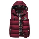Winter Casual Thick Warm Detachable Hooded Quilted Vest Sleeveless Coat for Men