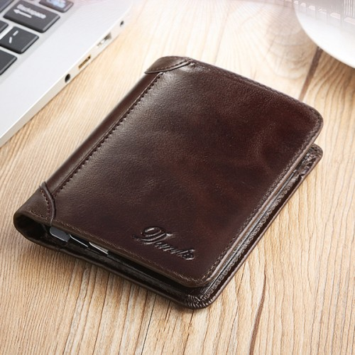 Men Genuine Leather Vintage Short Wallet Slim Money Card Holder with 11 Card Slots