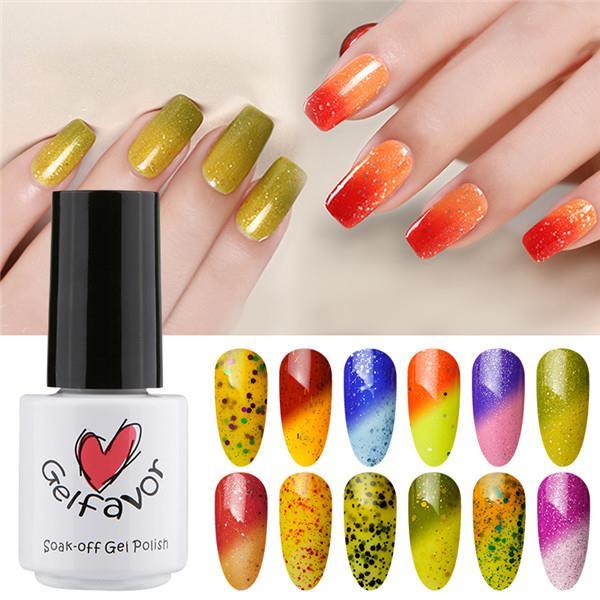 Gelfavor Temperature Change UV Gel Polish LED Shiny Soak Off Lacquer Varnish Nail Art 7ml Manicure