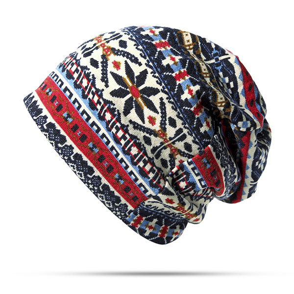 4c75837a Women Cotton Ethnic Style Beanie Hat Warm Soft Dual Use Collars Scarf and  Hat