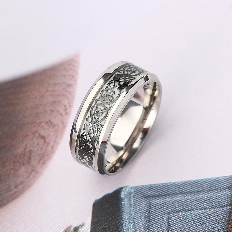 Fashion luminous stainless steel finger ring dragon for Dragon gifts for men