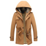Autumn Winter Mens Hooded Casual Windbreaker Mens Large Size Wool Coat