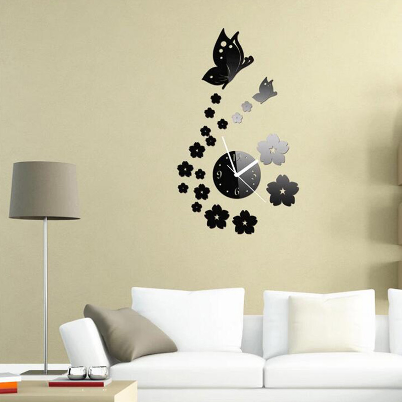 Honana dx x7 creative butterfly 3d acrylic mirror wall for 3d acrylic mirror wall sticker clock decoration decor