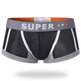 Mens Sexy Mesh Breathable Sweat Absorbent U Convex Boxer Contrast Color Underwear