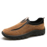 Men Suede Leather Elastic Slip On Outdoor Hiking Sneakers