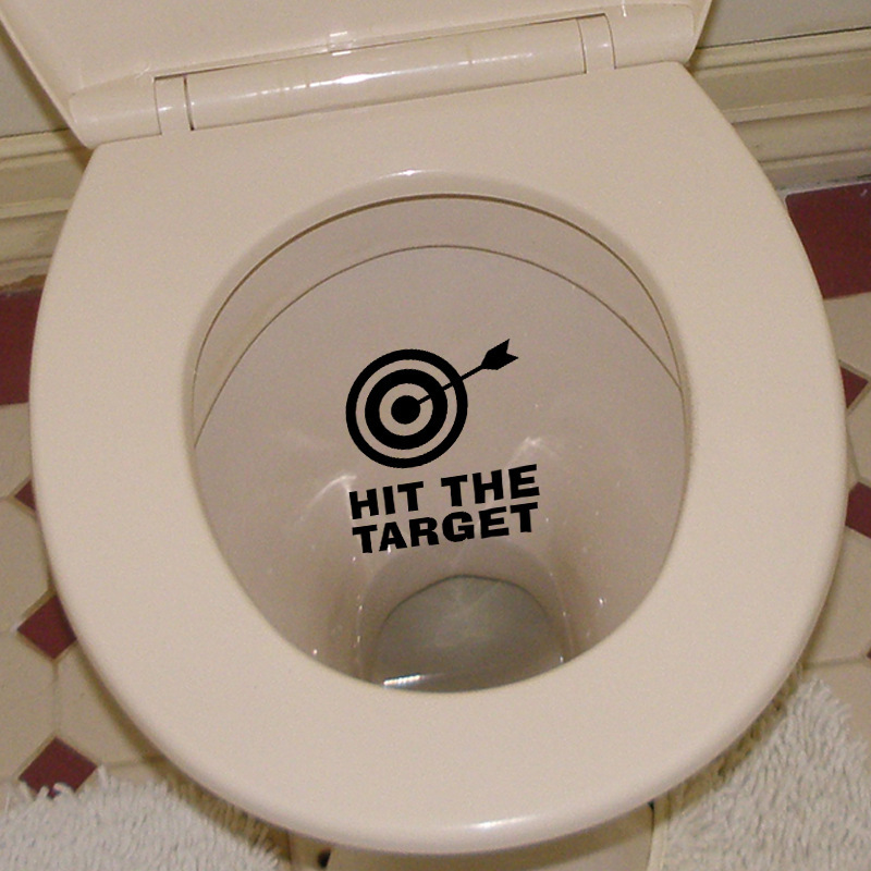 Honana BC-577 Hit The Target Toilet Wall Sticker Bathoom Decor Thinking 15 x 13cm Funny Toilet Entrance