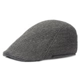 Mens Winter Striped Cotton Beret Cap Newsboy Cap Peaked Adjustable Hat