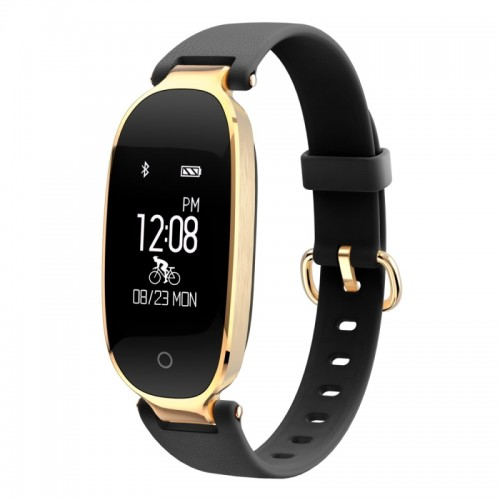 S3 0.96 inch OLED Display Bluetooth Sports Smart Bracelet, IP67 Waterproof, Support Heart Rate Monitor / GPS Trajectory / Pedometer / Calls Remind / Sedentary Reminder / Remote Capture / Distance, Compatible with Android and iOS Phones (Black + Gold)