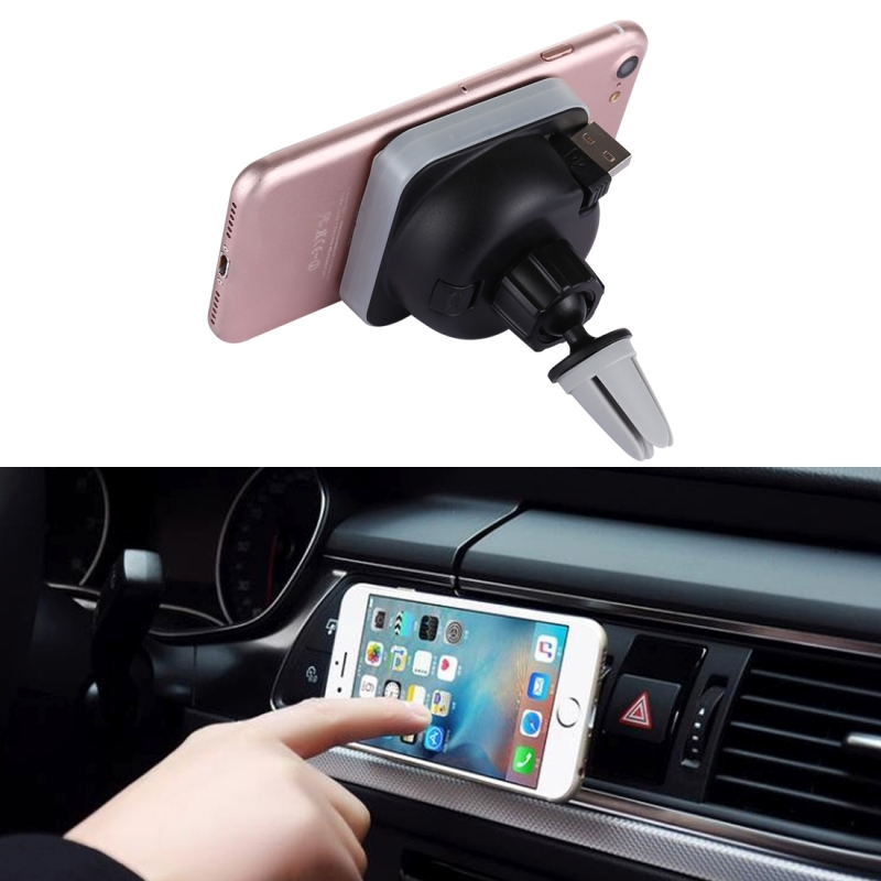 360 Degree Rotate Car Air Outlet Vent Adsorption Phone Wireless Charging Holder Stand Mount with 85cm Scalable USB Cable, For iPhone, Samsung, LG, Nokia, HTC, Huawei, and other Smartphones