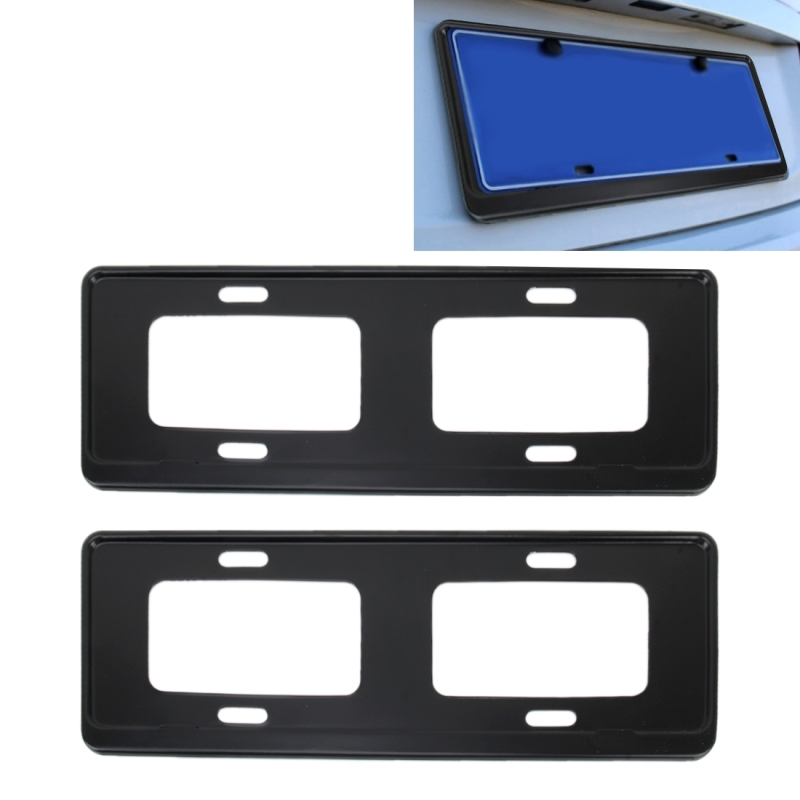 2 PCS Car License Plate Frames Stainless Steel License Plate Frame (Black)