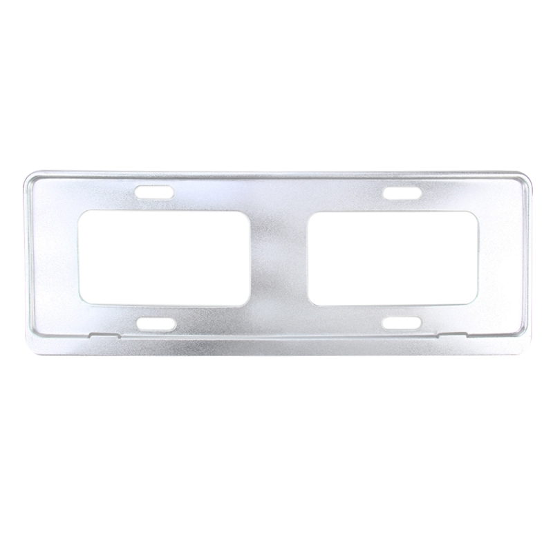 2 Pcs Car License Plate Frames Stainless Steel Frame White