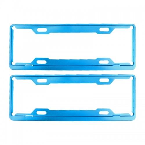 2 PCS Car License Plate Frames Car Styling License Plate Frame Aluminum Alloy Universal License Plate Holder Car Accessories (Blue)