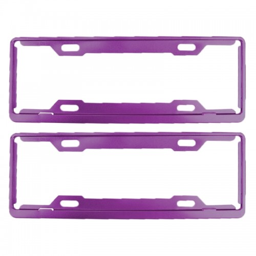 2 PCS Car License Plate Frames Car Styling License Plate Frame Aluminum Alloy Universal License Plate Holder Car Accessories (Purple)