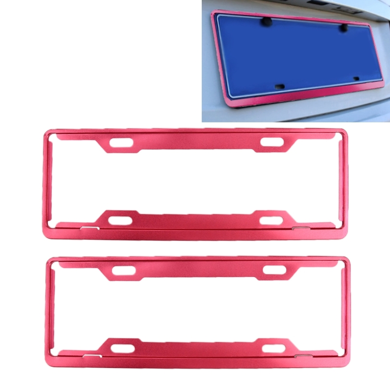 2 PCS Car License Plate Frames Car Styling License Plate Frame Aluminum Alloy Universal License Plate Holder Car Accessories (Red)