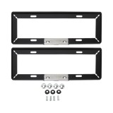 2 PCS Simple and Beautiful Car License Plate Frame Holder Universal License Plate Holder Car Accessories (Black)