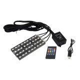 3*2A 4.5W 36 SMD-5050-LEDs RGB 4 in 1 USB Car Interior Floor Decoration Atmosphere Colorful Neon Light Lamp with Wireless Remote Control And Voice Control Function