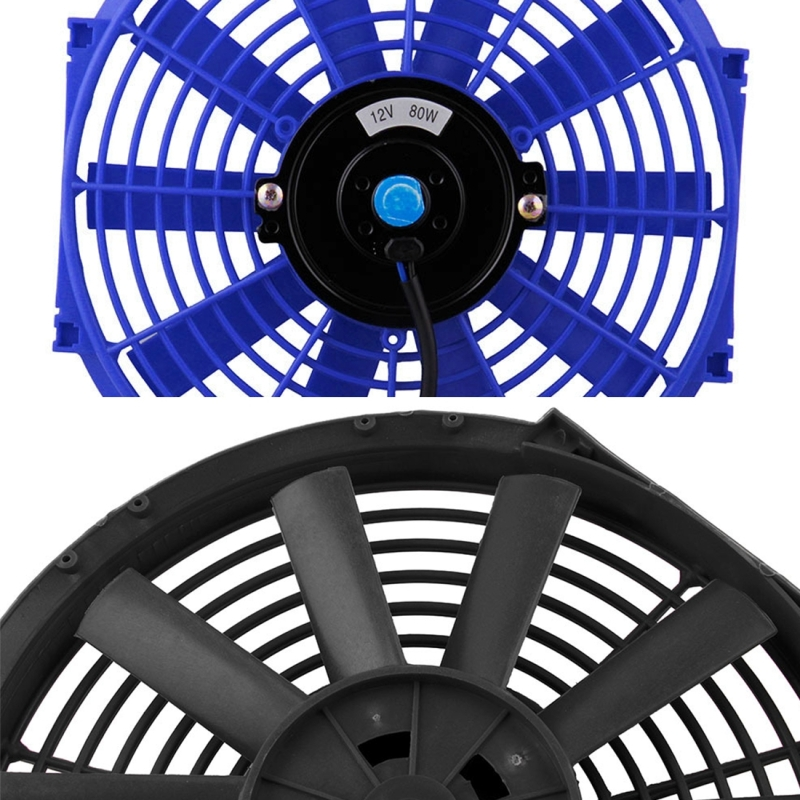 12V 80W 12 inch Car Cooling Fan High-power Modified Tank Fan Cooling Fan Powerful Auto Fan Mini Air Conditioner for Car (Black)