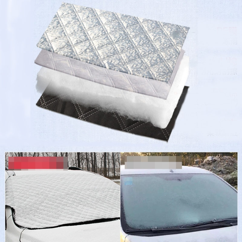 Car Windshield Sun Shade Protective Cover Winter Car Snow Shield Cover Auto Front Windscreen / Rain / Frost / Sunshade Thicken and Add Cotton Snow Shelter Folding Sun Visor, 147*100cm
