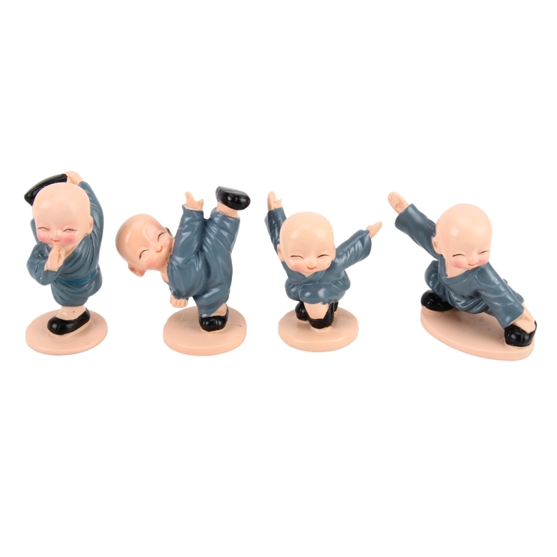 4 PCS/Lot Cute Automotive Interiors Little Monk Ornaments Resin Cute Chinese Kung Fu Monk Car Home Decoration Ornaments Miniatures Crafts
