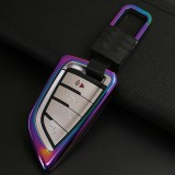 A Style Car Auto Square Buckle Key Shell Colorful Ring Zinc Alloy Car Chain Shell Car Key Shell Case for BMW