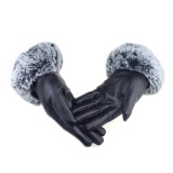 Winter Touch Screen Gloves Ladies Riding Gloves Rex Rabbit Hair Simulation U-shaped Hair PU Leather Warm Gloves