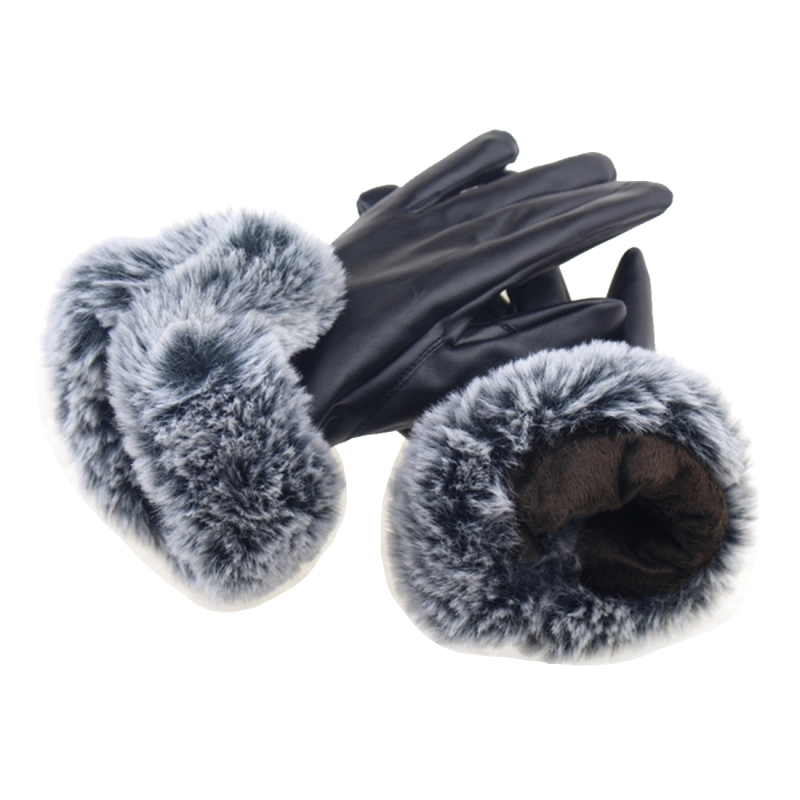 Winter Touch Screen Gloves Ladies Riding Gloves Rex Rabbit Hair Simulation U-shaped Hair PU Leather Warm Gloves