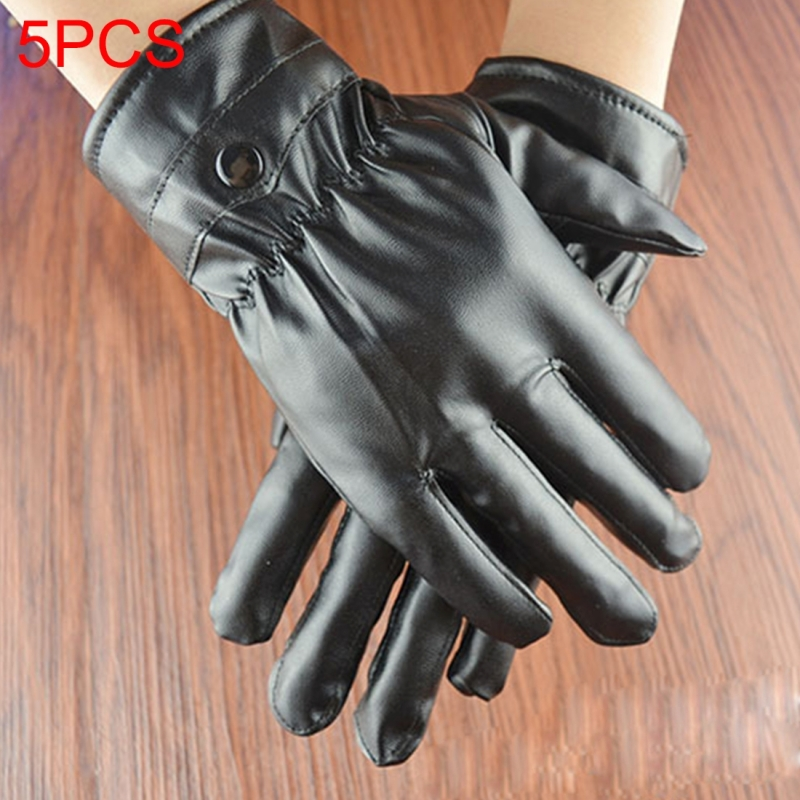 5 PCS Ridding Gloves Motorcycle Waterproof PU Leather Gloves Winter Warm Gloves Touch Screen Retro Thickened PU Leather Cuff Plush Non-slip Outdoor Gloves