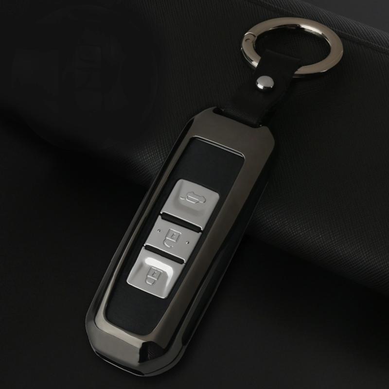B Style Car Auto Round Buckle Key Shell Car Remote Control Shell Zinc Alloy Car Chain Shell Car Key Shell Case for PAOJUN