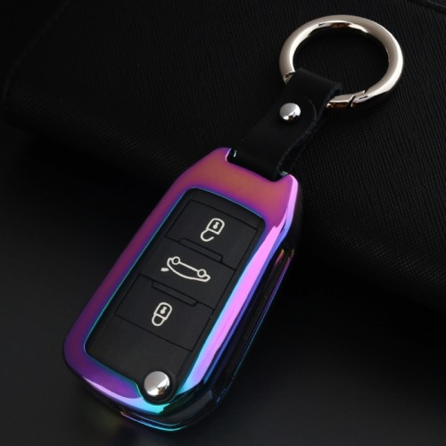 B Style Car Auto Round Buckle Key Shell Colorful Ring Zinc Alloy Car Chain Shell Car Key Shell Case for Peugeot