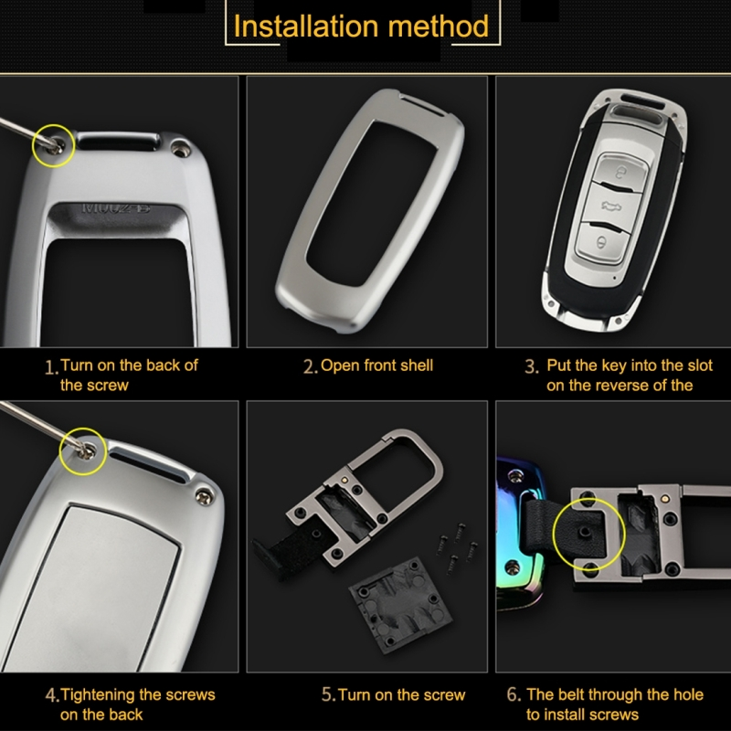 C Style Car Auto Square Buckle Key Shell Colorful Ring Zinc Alloy Car Chain Shell Car Key Shell Case for Peugeot
