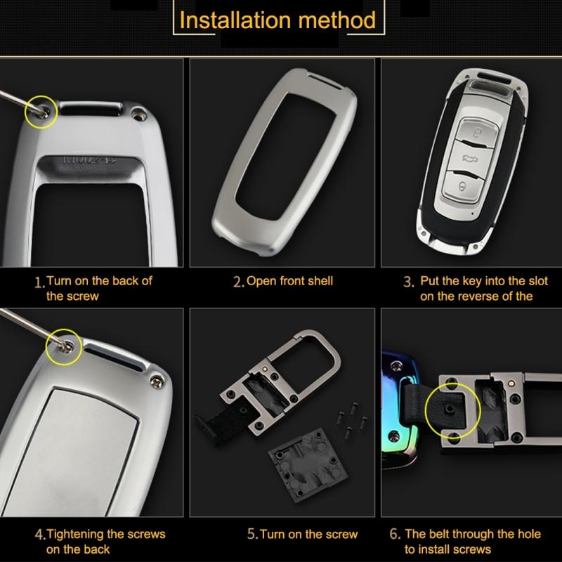 C Style Car Auto Round Buckle Key Shell Zinc Alloy Car Chain Shell Car Key Shell Case Key Ring for Trumpchi