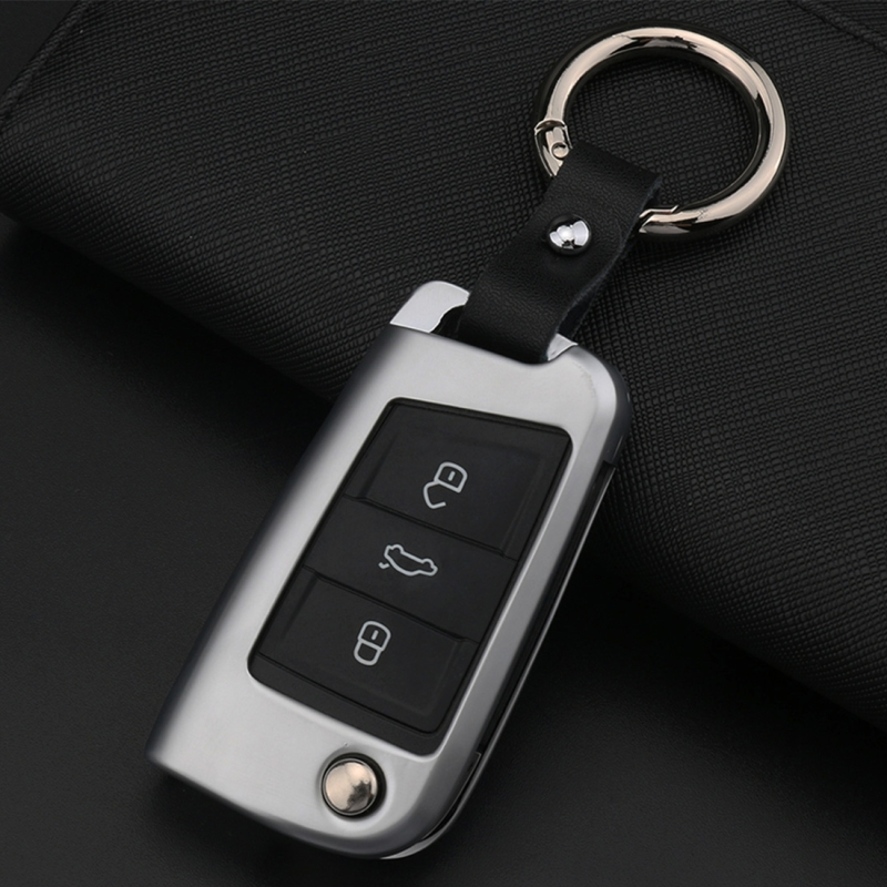 C Style Car Auto Round Buckle Key Shell Zinc Alloy Car Chain Shell Car Key Shell Case Key Ring for Volkswagen