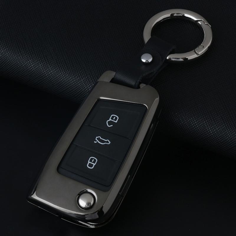 C Style Car Auto Round Buckle Key Shell Zinc Alloy Car Chain Shell Car Key Shell Case Key Ring for Volkswagen