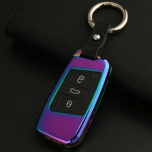 D Style Car Auto Round Buckle Key Shell Zinc Alloy Car Chain Shell Car Key Shell Case Key Ring for Volkswagen