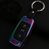 A Style Car Round Buckle Key Shell Zinc Alloy Car Key Shell Case Key Ring for Skoda