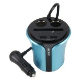 HSC-108D Car Cup Charger 3.1A Cup Type Car Charger Dual USB Ports Car 12V-24V Charger with Card Socket