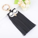 Fashion Casual PU Leather Tassels Women Key Chain Bag Pendant Car Key Chain Ring Hanging Holder Creative Personality Owl Tassel Car Key Ring Bag Ornaments Pendant (Black)