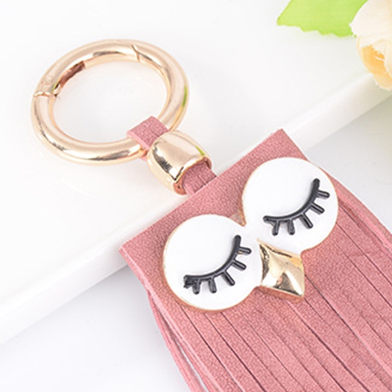 Fashion Casual PU Leather Tassels Women Key Chain Bag Pendant Car Key Chain Ring Hanging Holder Creative Personality Owl Tassel Car Key Ring Bag Ornaments Pendant (Pink)