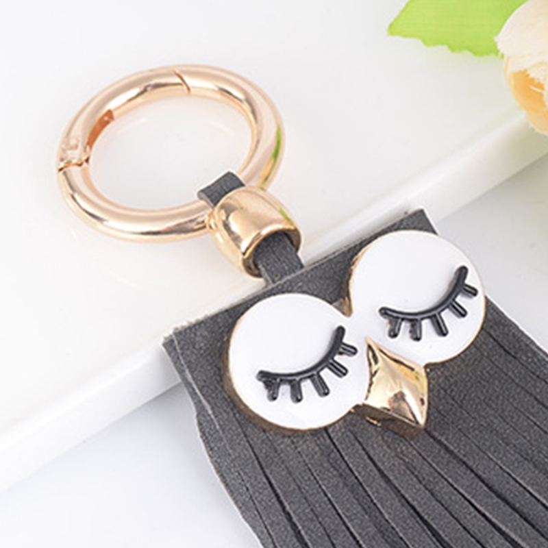 Fashion Casual PU Leather Tassels Women Key Chain Bag Pendant Car Key Chain Ring Hanging Holder Creative Personality Owl Tassel Car Key Ring Bag Ornaments Pendant (Grey)