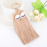 Fashion Casual PU Leather Tassels Women Key Chain Bag Pendant Car Key Chain Ring Hanging Holder Creative Personality Owl Tassel Car Key Ring Bag Ornaments Pendant (Khaki)