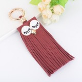 Fashion Casual PU Leather Tassels Women Key Chain Bag Pendant Car Key Chain Ring Hanging Holder Creative Personality Owl Tassel Car Key Ring Bag Ornaments Pendant (Red)