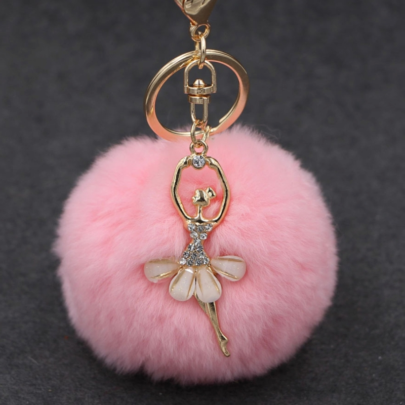 Ballet Golden Keychain Key Holder Key Chains Rings Holder Rex Rabbit Car Bag Pendant Fashion Bag Ornaments Pendant