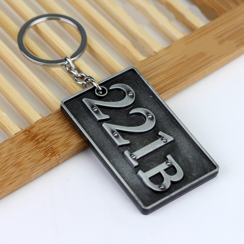 Detective Sherlock 221B Key Chain Car Key Ring Multi-functional Tool Key Holder Key Chains Rings Holder Pendant Auto Parts (Silver)