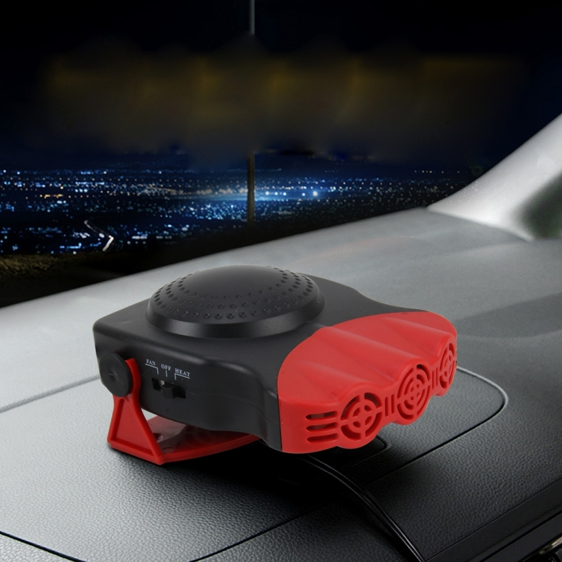 DC 12V 150W Cold and Warm Dual Use Three Outlet Car Auto Vehicle Electronic Heater Fan Car Heaters Windshield Defroster Car Electric Heater Heating Windshield Defroster Demister, Cable 120cm (Red)