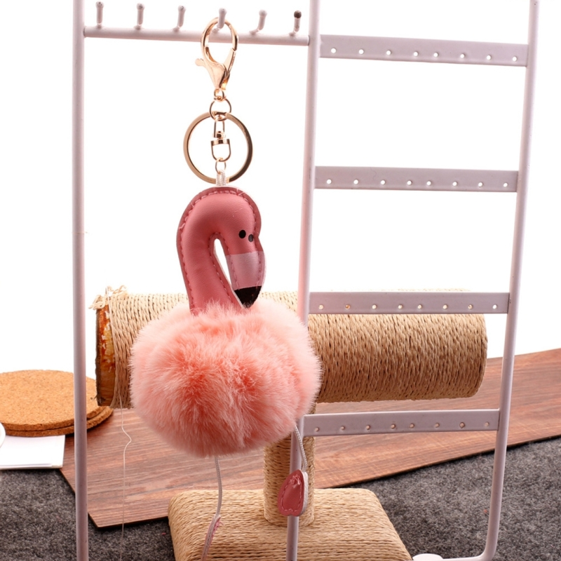 Super Metal Flamingo Key Chain Imitation Rabbit Hair Bulb Fur Plush Car Ornaments Pendant Key Ring