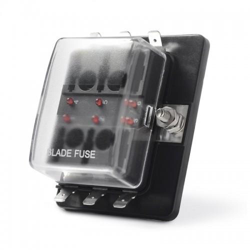 Universal 6 Way Fuse Box Block Fuse Holder Box Car Vehicle Circuit Automotive Blade Tool 6 Way Fuse Block, DC 10V-32V