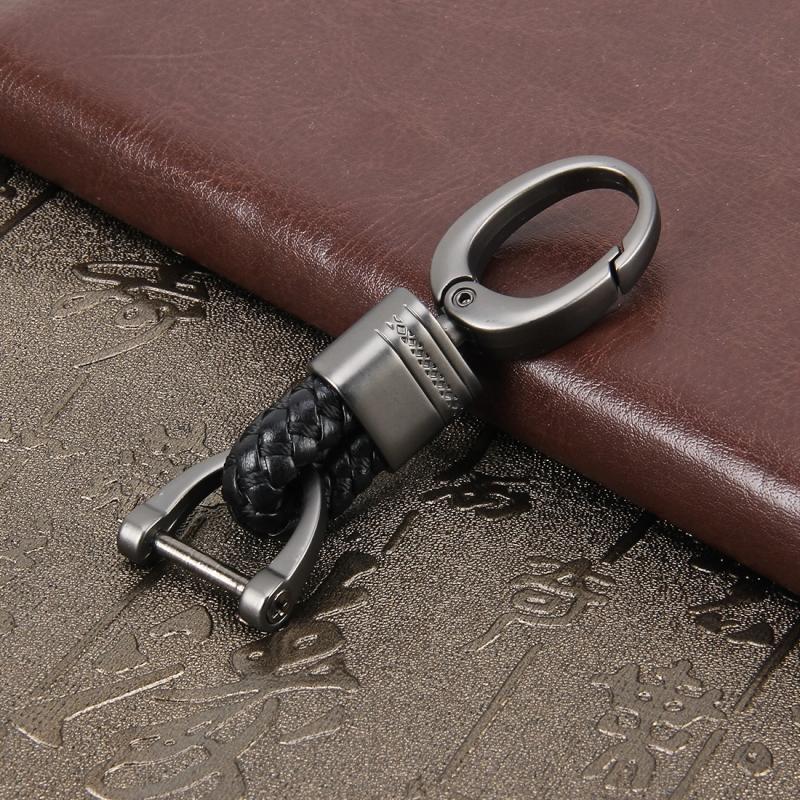Key Chain Weaving Band Metal Car Key Ring Braided Belt Key Holder Key Chains Holder Car Accessories (Black)
