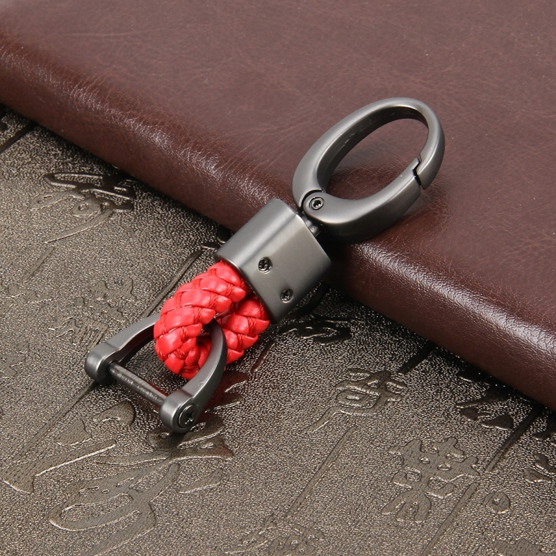Key Chain Weaving Band Metal Car Key Ring Braided Belt Key Holder Key Chains Holder Car Accessories (Red)