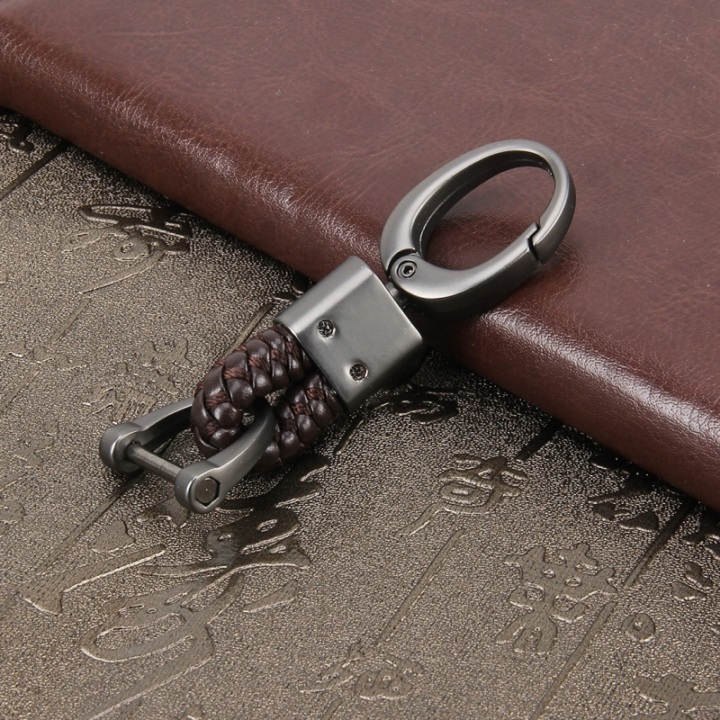 Key Chain Weaving Band Metal Car Key Ring Braided Belt Key Holder Key Chains Holder Car Accessories (Brown)