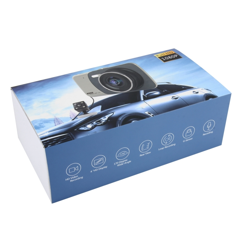 4 inch HD Video Recording HD Display Car Recorder with Separate F2.0 Camera, 12MP 170 Degrees Wide-angle/ Rear View Loop Recording/ G-Sensor Recording/ WDR Full HD/ Front Camera 1080P/ Rear Camera 720P/ Support 32G TF Card